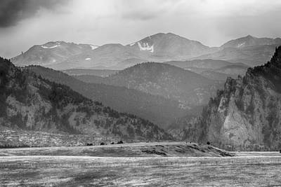 Monochrome Photograph -  Eldorado Canyon And Continental Divide Above Bw by James BO  Insogna