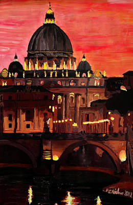 Eternal City  Rome St Peter Vatican At Dusk Original by M Bleichner