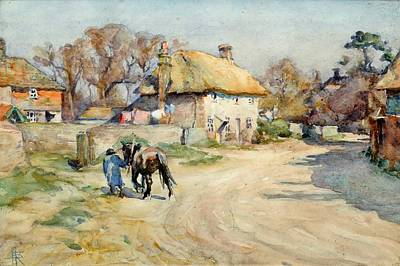 Nathaniel Painting -  Farmer With A Shire Horse On A Village Street by Nathaniel Hughes John Baird