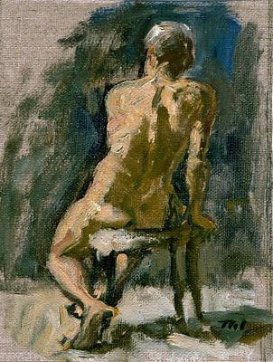 Figure Painting Male Nude Seated Original Oil On Canvas Original by Thor Wickstrom