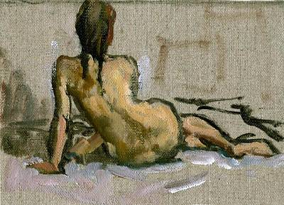 Figure Painting Seated Female Nude. Small Original Oil Sketch On Canvas Realist Figure Painting Print by Thor Wickstrom