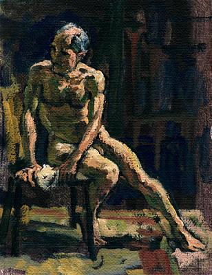 Figure Painting Twist Male Nude Original by Thor Wickstrom