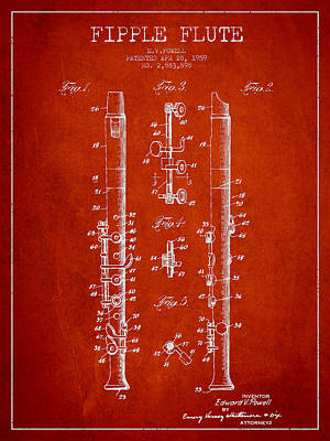 Music Drawing -  Fipple Flute Patent Drawing From 1959 - Red by Aged Pixel