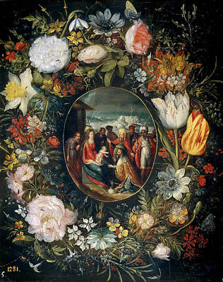 Adoration Magi Painting - Flower Garland With Adoration Of The Magi by Pieter Brueghel the Younger
