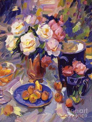 Ceramics Painting -  Flowers And Fruit At Montecito by David Lloyd Glover