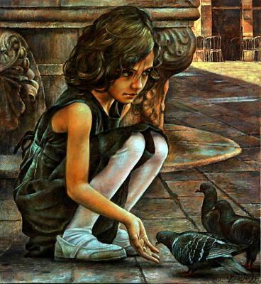 Girl And Doves Original by Arthur Braginsky