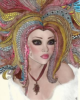 Pen And Ink Drawing Painting -  Girl With The Rainbow Hair by Terry Fleckney