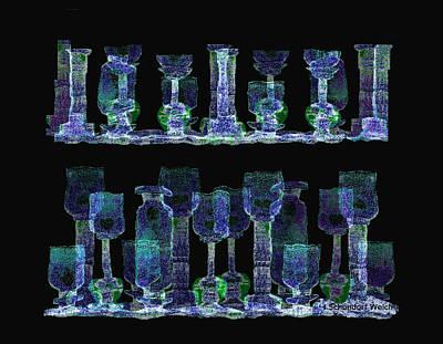 Luminescent Digital Art -   Glasses  - 111 by Irmgard Schoendorf Welch