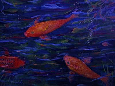 Golden Fish Koi Print by Yolanda Rodriguez