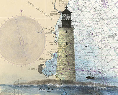 New England Lighthouse Painting -  Graves Lighthouse Ma Nautical Chart Map Art by Cathy Peek