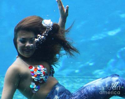 Floating Girl Photograph -  Happy Mermaid by Chuck  Hicks