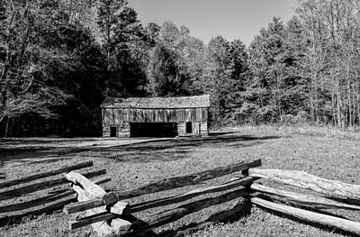 Smokey Mountain Drive Photograph -  Historical Cantilever Barn At Cades Cove Tennessee In Black And White by Kathy Clark