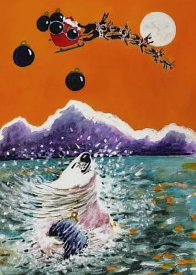Holiday Polar Bear Print by Joy Bradley