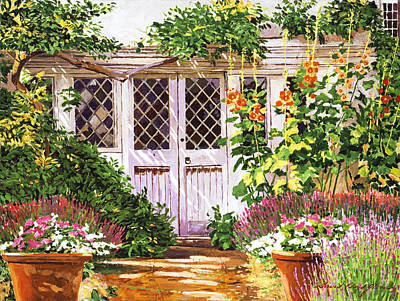 Hollyhock Gardens Print by David Lloyd Glover