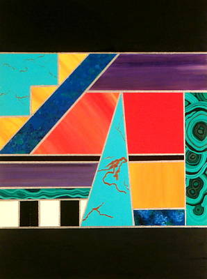 Silver Turquoise Painting -  Homage To Inlay #2 by Karyn Robinson