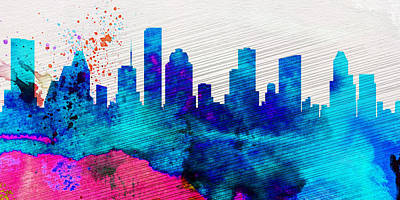 Architectural Painting -  Houston City Skyline by Naxart Studio