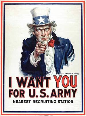I Want You For The Us Army Recruitment Poster During World War I Print by James Montgomery Flagg