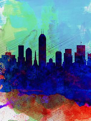 Indiana Landscapes Painting -  IIndianapolis Watercolor Skyline by Naxart Studio