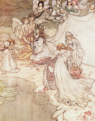 Pen Drawing -  Illustration For A Fairy Tale Fairy Queen Covering A Child With Blossom by Arthur Rackham