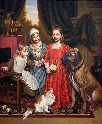 Small Dogs Painting -  Imaginary 17th Century Family Portrait by MotionAge Designs
