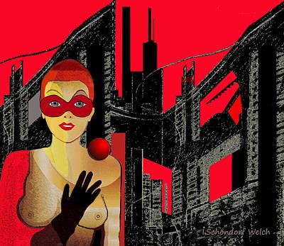 Welch Digital Art -   014 - In  Red   City Darkness by Irmgard Schoendorf Welch