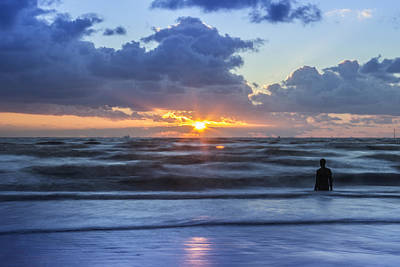 Incoming Tide At Crosby Beach Print by Paul Madden