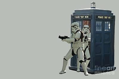 Stormtrooper Digital Art -  163. Inform Lord Vader We Have The Tardis by Tam Hazlewood