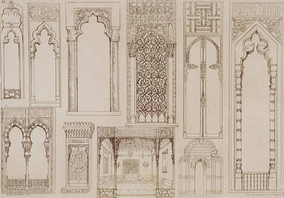 Islamic And Moorish Design For Shutters And Divans Print by Jean Francois Albanis de Beaumont