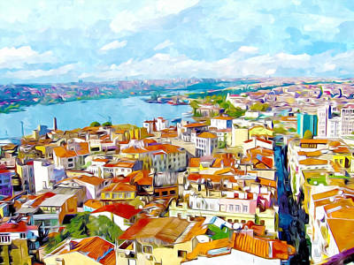 Water Tower Place Painting -  Istanbul From Galata Tower by Lanjee Chee