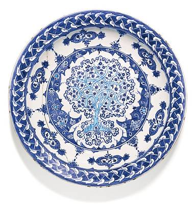 Illuminated Painting -  Iznik Blue And White Pottery by Celestial Images