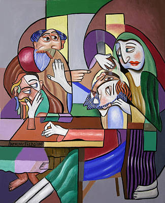 Jesus Anointed At Bethany Print by Anthony Falbo