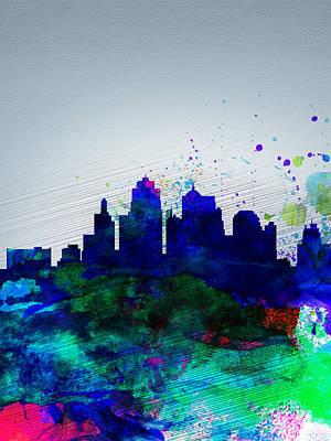 Kansas City Watercolor Skyline Print by Naxart Studio