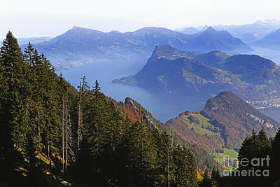 Lake Luzern From Above Print by George Oze