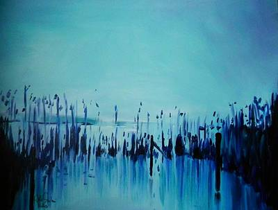 Lake With Reeds In Blue Print by Jolanta Shiloni