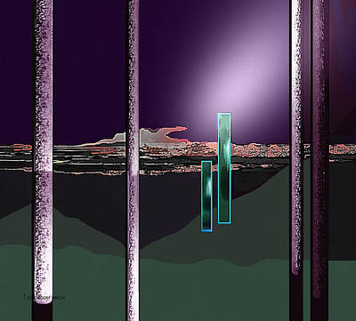 Monolith Digital Art - 076 - Landscape With Columns And Two Monoliths  by Irmgard Schoendorf Welch