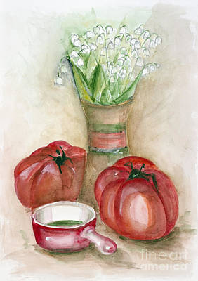 Spinach Painting -  Lily Of The Valley by Irina Gromovaja