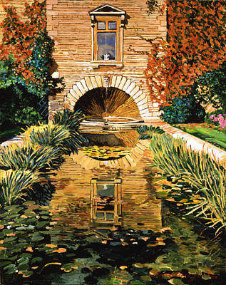 Lily Pond And Fountain Print by David Lloyd Glover