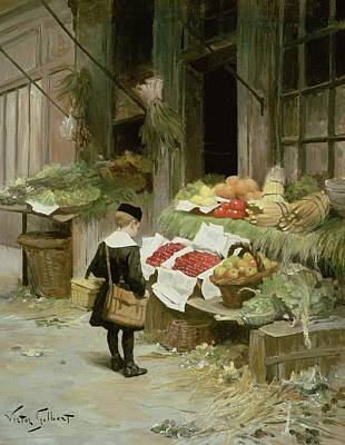 Fruit Stand Painting -  Little Boy At The Market by Victor Gabriel Gilbert