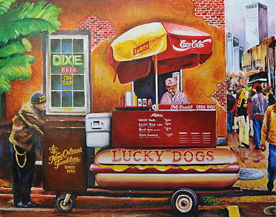 Lucky Dogs Painting -  Lucky Dog Man In The Quarter by Terry J Marks Sr