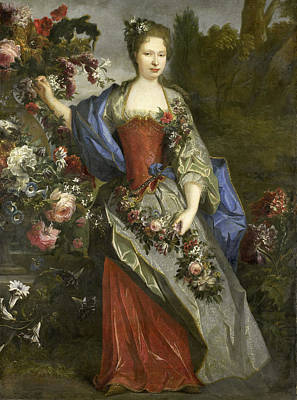 Largilliere Painting - Marie Louise Elisabeth D'orleans Duchess Of Berry As Flora by Nicolas de Largilliere