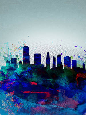 Miami Digital Art -  Miami Watercolor Skyline by Naxart Studio