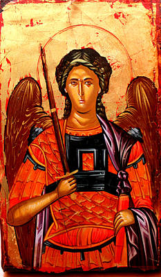 Egg Tempera Painting -  Michael The Archangel by Artur Sula