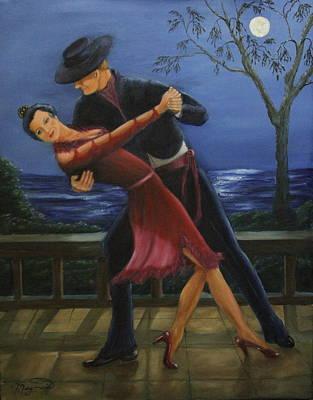 Moonlight  Tango Print by Lou Magoncia