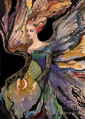 Concept Art Inks Drawing -  My Guardian Angel by Valentina Plishchina