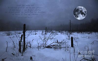 Native American Full Moon Treat The Earth Well Print by John Stephens