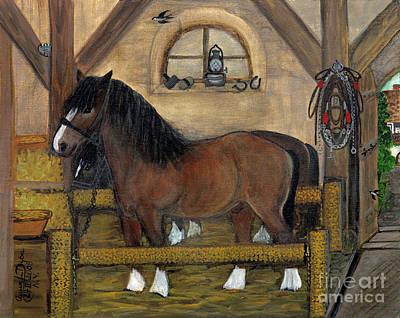Folkartanna Painting -  Old Stable by Anna Folkartanna Maciejewska-Dyba