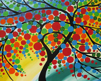 Living With Joy Painting -  Orb Tree  by Cathy Jacobs
