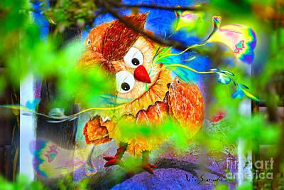 Owl Leaf Forest 2 Print by Vin Kitayama