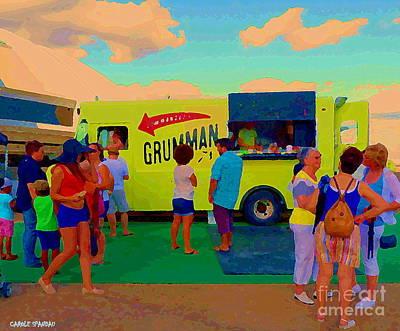 City Painting -  Paintings Of Food Trucks Grummans Big Yellow Roadside Diner Montreal Art  Carole Spandau by Carole Spandau