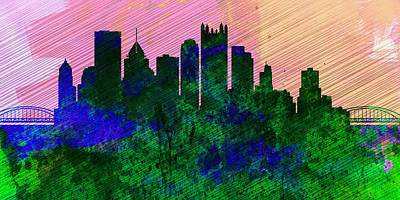 Downtown Pittsburgh Painting -  Pittsburgh City Skyline by Naxart Studio